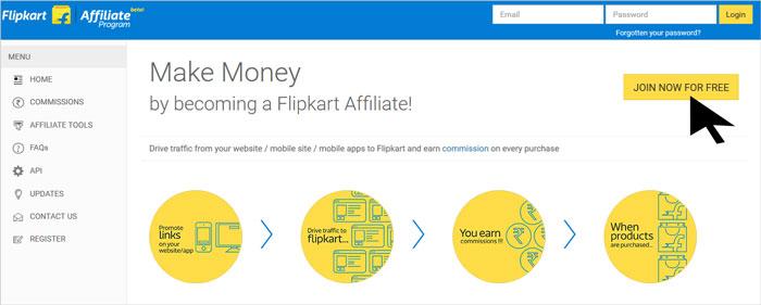 Flipkart Affiliate Program Join Page