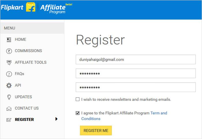 Register with Affiliate Program