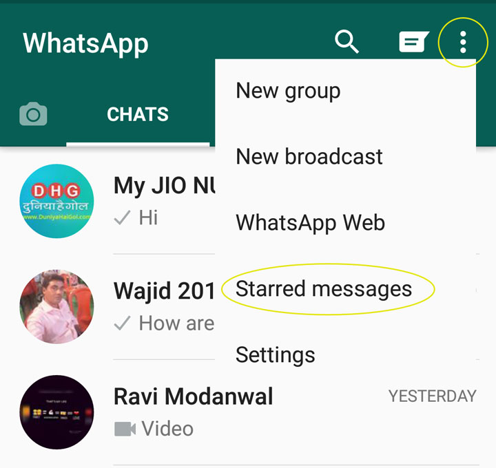 WhatsApp Starred Message 2