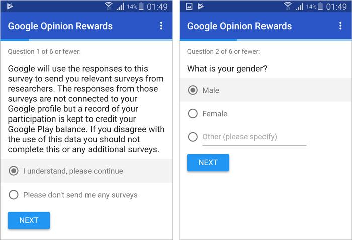 Google Opinion Rewards Survey 1