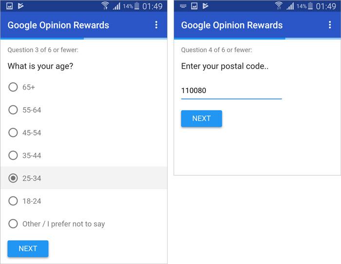 Google Opinion Rewards Survey 2