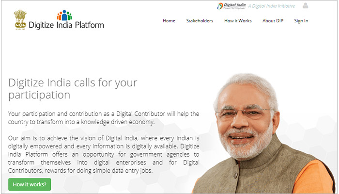 Digitize India Platform for Data Entry