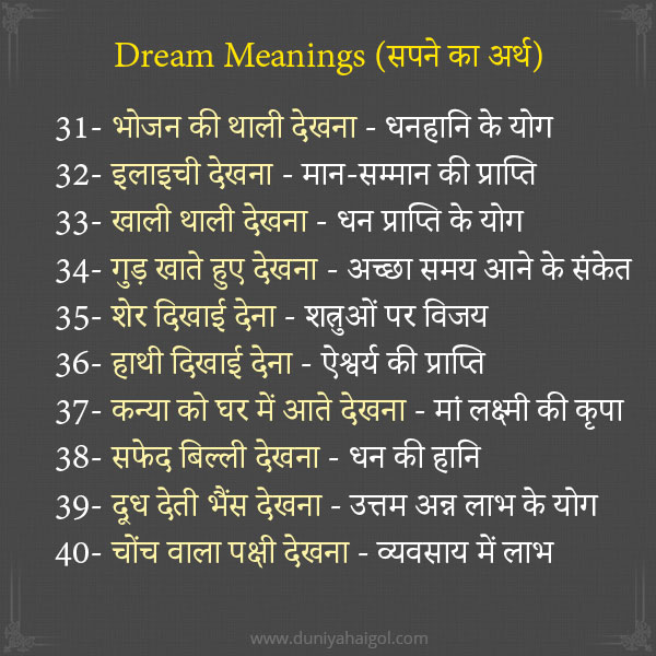 Dream Meanings in Hindi