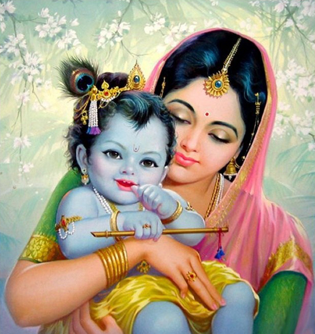 Little Krishna HD Wallpaper with Maa Yashoda