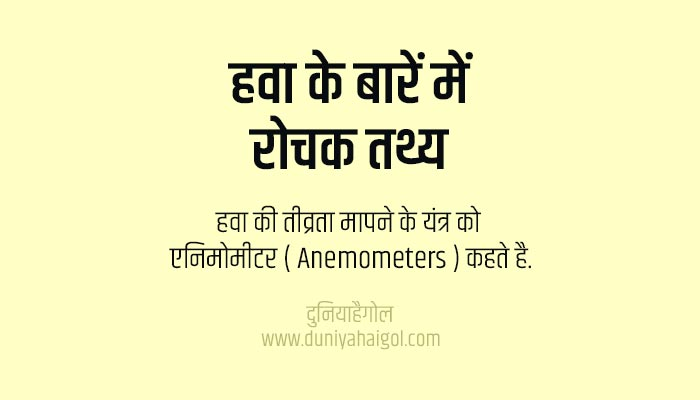 हवा के रोचक  तथ्य | Facts About Wind in Hindi